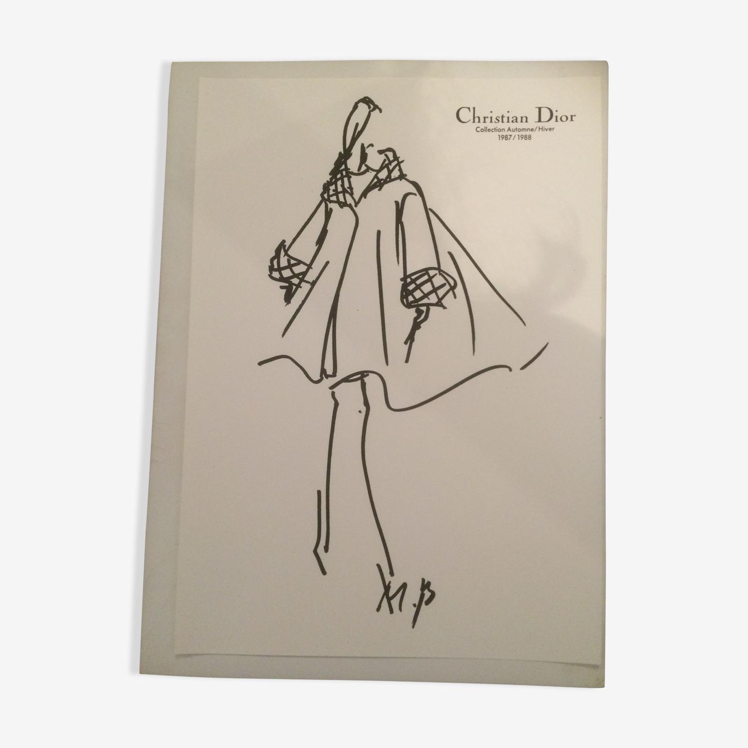 Illustration de mode Christian Dior vintage de presse fin des années 80