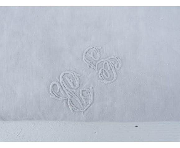 Nappe de vendanges en lin souple broderie monogramme