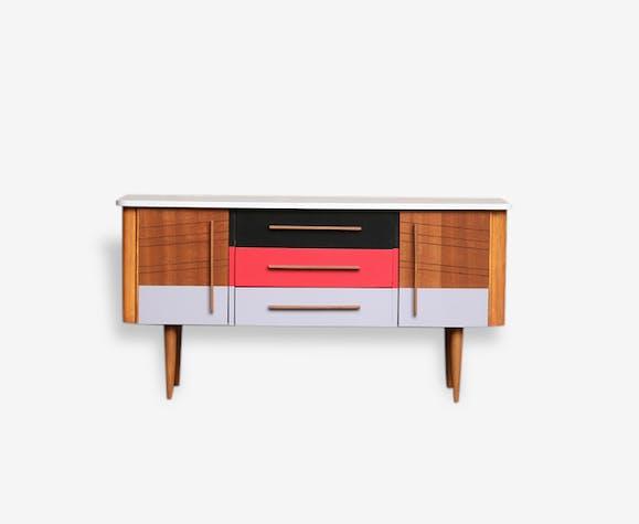 meuble vintage relook en bois motifs graphique rouge gris noir - Meuble Vintage