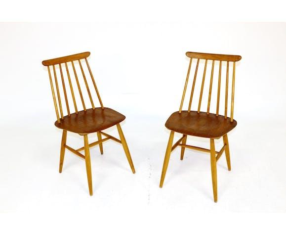"""Paire de chaises à bâtons """"Pinnstol"""", Edbysverken, Suède, 1960"""