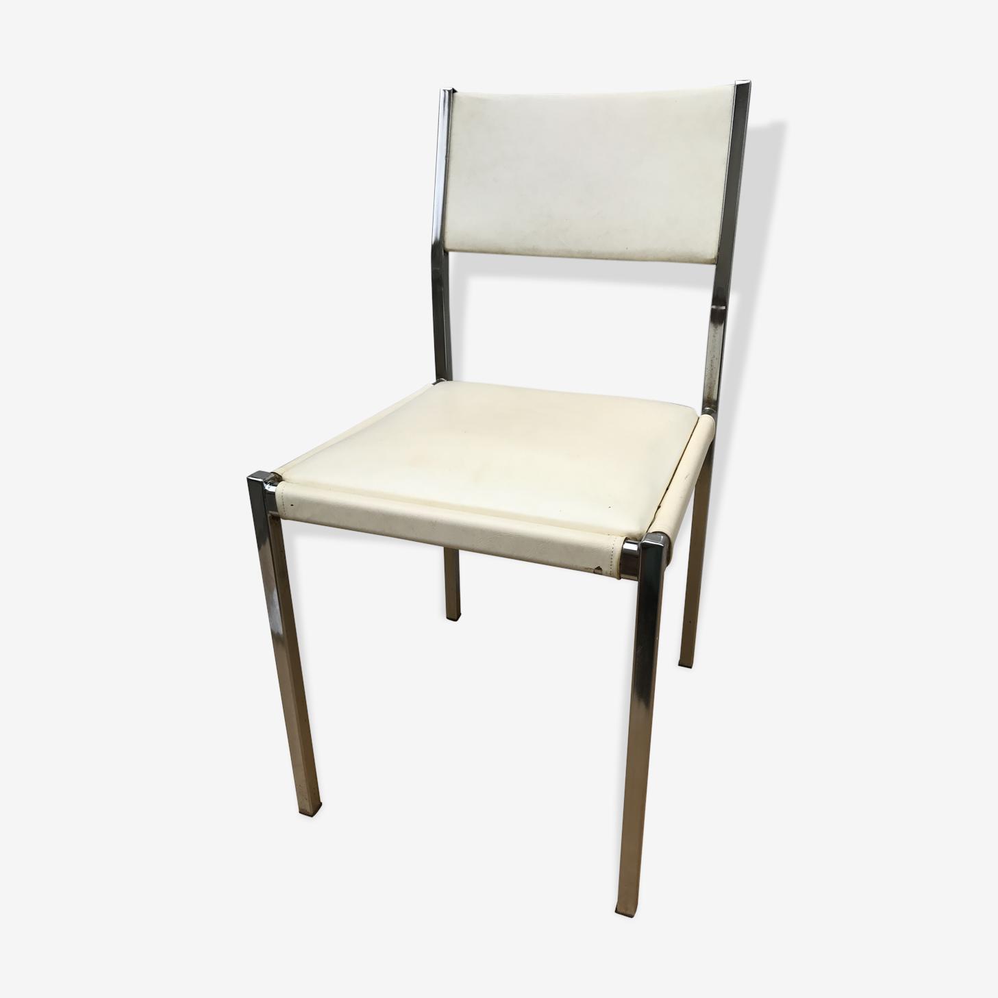 Ancienne chaise en métal année 70 avec structure en métal chromé