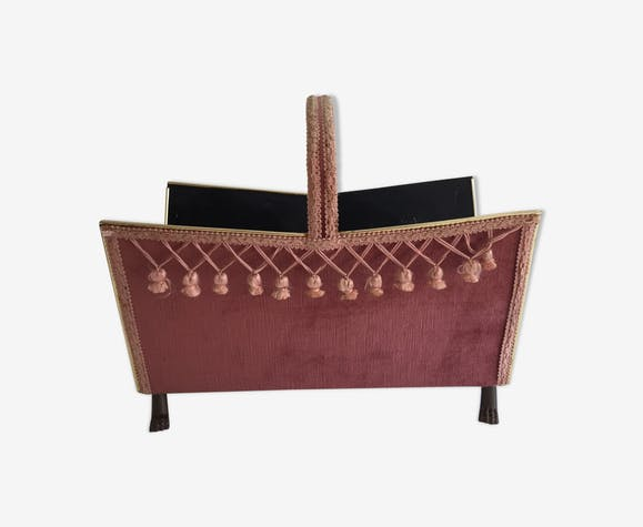 Magazine rack on lion paws Baroque style - copper - pink