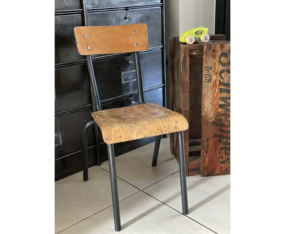 Ancienne chaise écolier enfant bois et métal