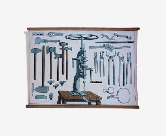"Poster ""Tools to Work"" 1929 Metal Educational Grid"