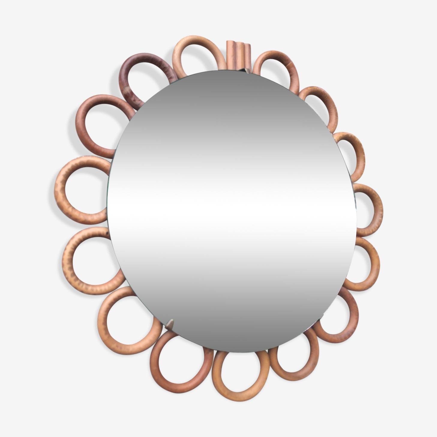 Mirror rattan 22x22cm