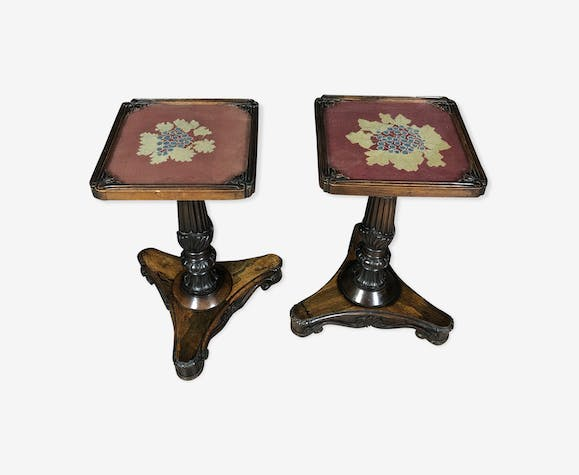 pair of tables pedestal Napoleon III era rosewood and mahogany