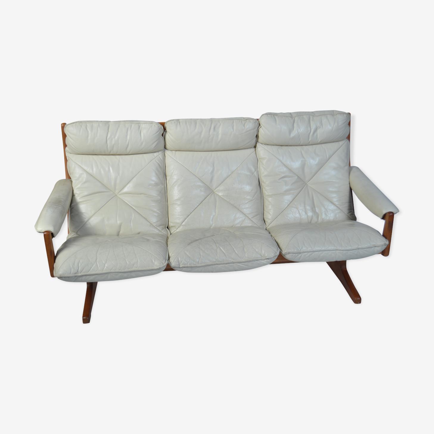 Canapé en cuir blanc danois