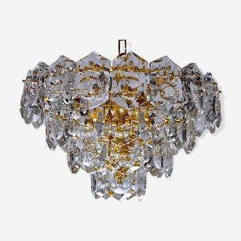 Lustre Kinkeldey doré, 50 cristaux, 1960