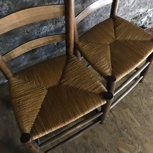 Paire de chaises paillées enfant