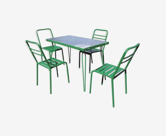 Salon de jardin vintage année 50 en bois et fer - métal - vert ...