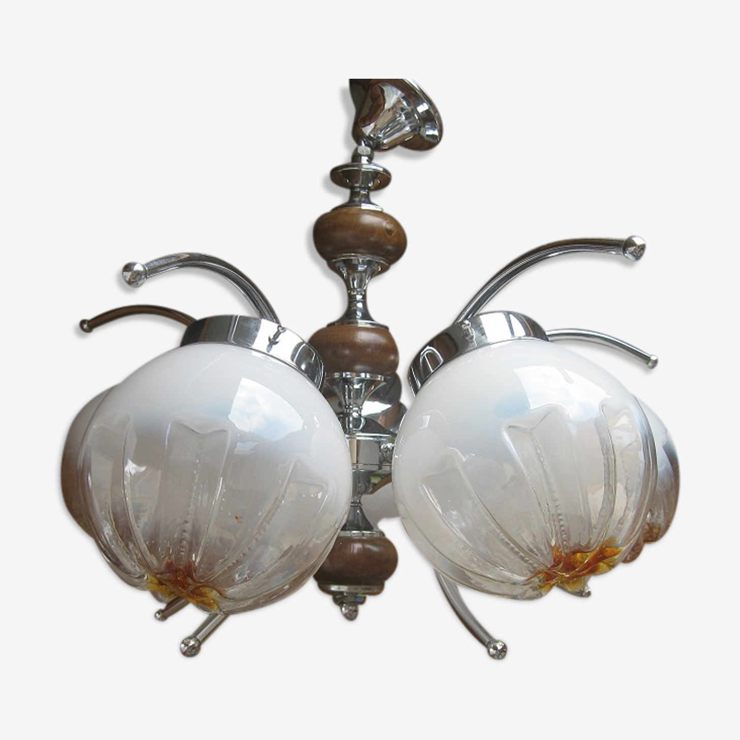 Suspension lustre métal chromé et verre de Murano