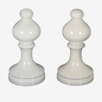 Set of two bishop chess glass lamps, I. Jakes for Osvětlovací Sklo,1970s