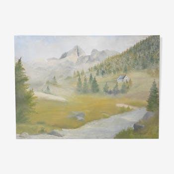 """Huile sur toile """"Paysage de montagne"""""""