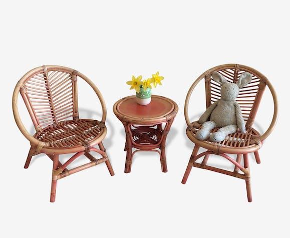 Ensemble salon de jardin fauteuil table rotin enfant - rotin et ...