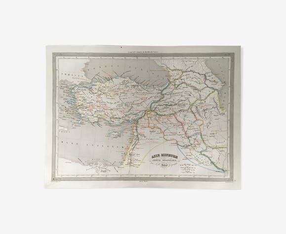 Carte géographique 19ème numérotée Asie mineure Arménie Mésopotamie
