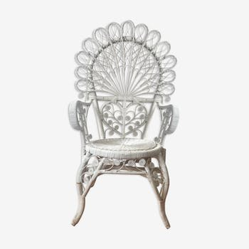 White peacock rattan chair
