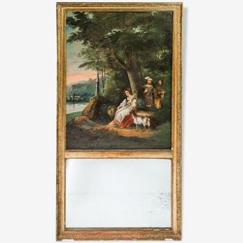 """Trumeau XIXeme siècle """"scène galante champêtre"""""""