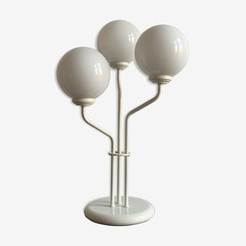 Three-headed white opaline ball table lamp