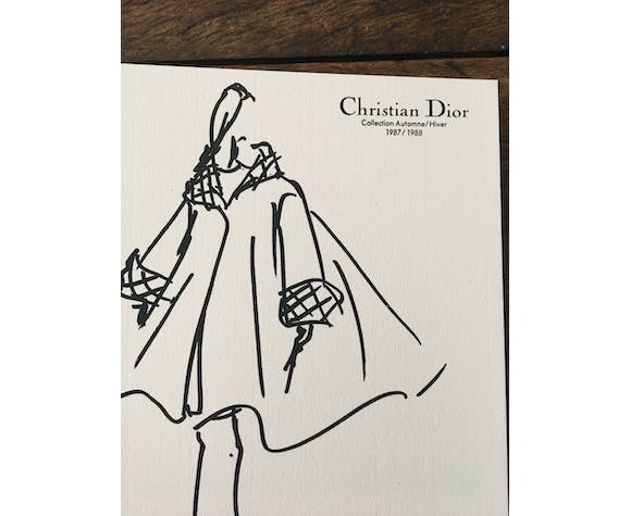 Pretty fashion sketch and press photography - Christian Dior 1987-1988