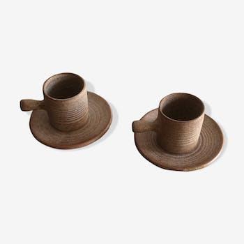 Duo de tasses et soucoupes Vallauris,vintage