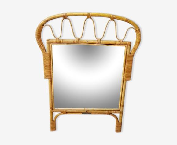 Miroir en rotin 60 's  61x82cm