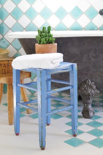 Blue wood workshop stool