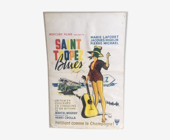 Affiche cinema vintage Saint Tropez blues