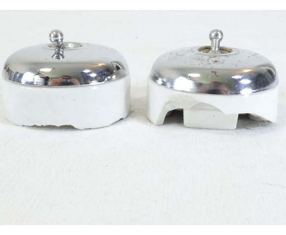 Interrupteurs porcelaine et métal crhomé vintage industriel