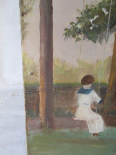 """Huile sur toile ancienne  de 1913 """"demoiselle sur une balançoire"""""""