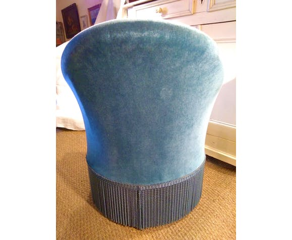 Blue toad chair, velvet