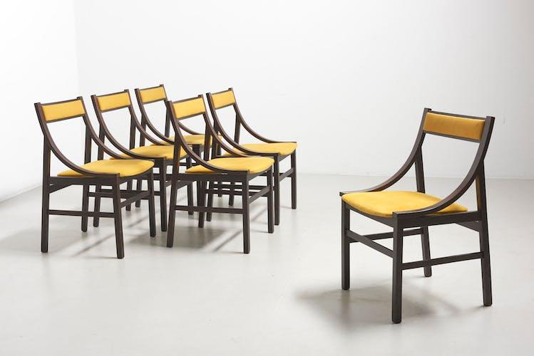 Ensemble de 6 chaises avec sellerie jaune, Italie - années 1960