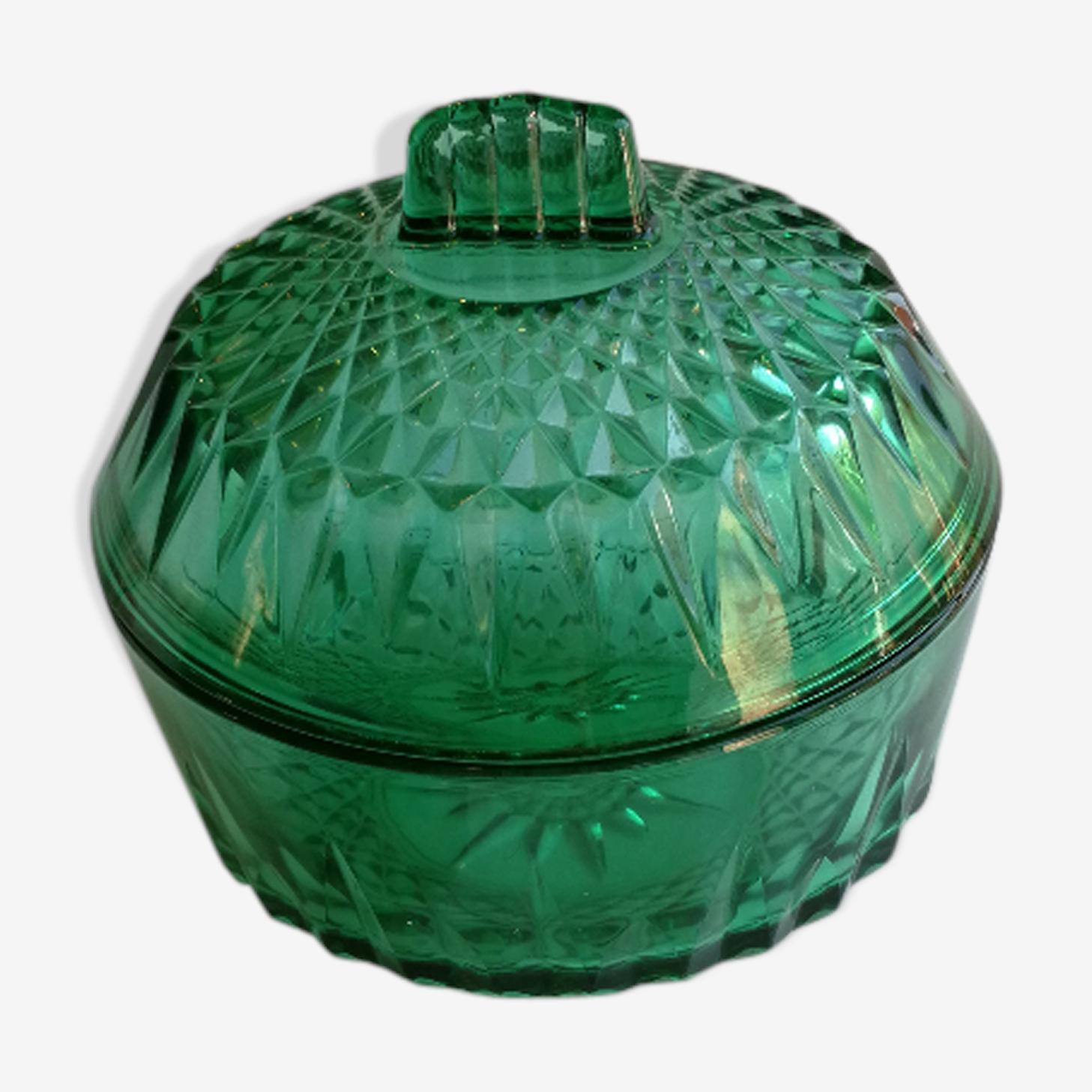 Bonbonnière ou sucrier arcoroc vert émeraude verre facetté années 60
