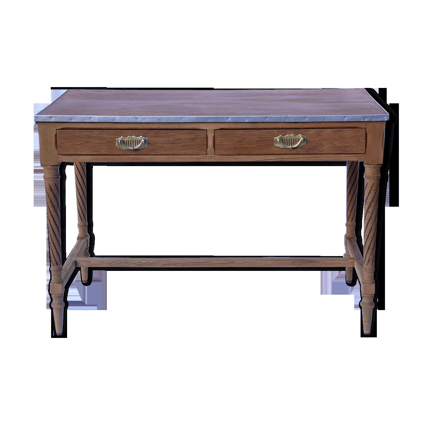 Bureau bois et zinc bois matériau bois couleur vintage