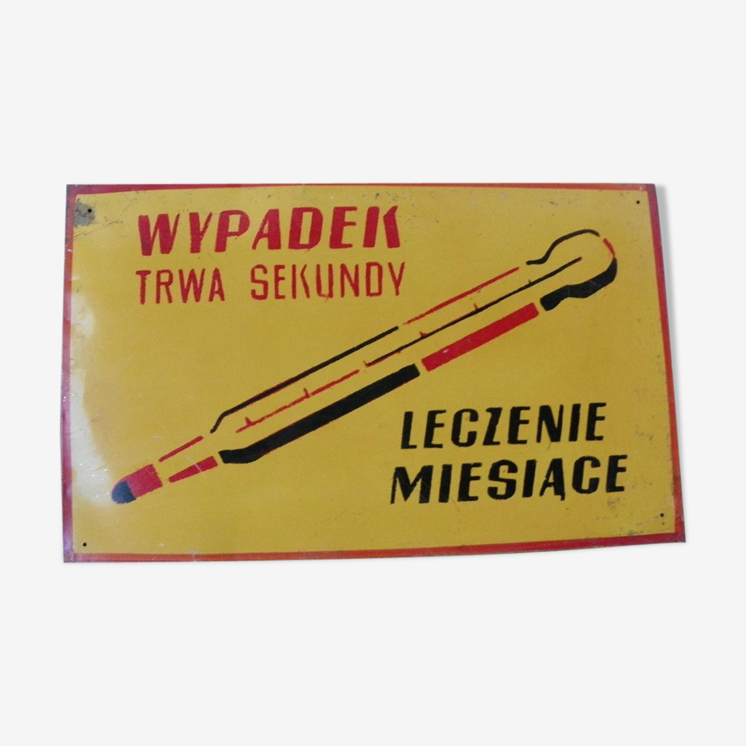 Polish industrial shield warning sign vintage factory