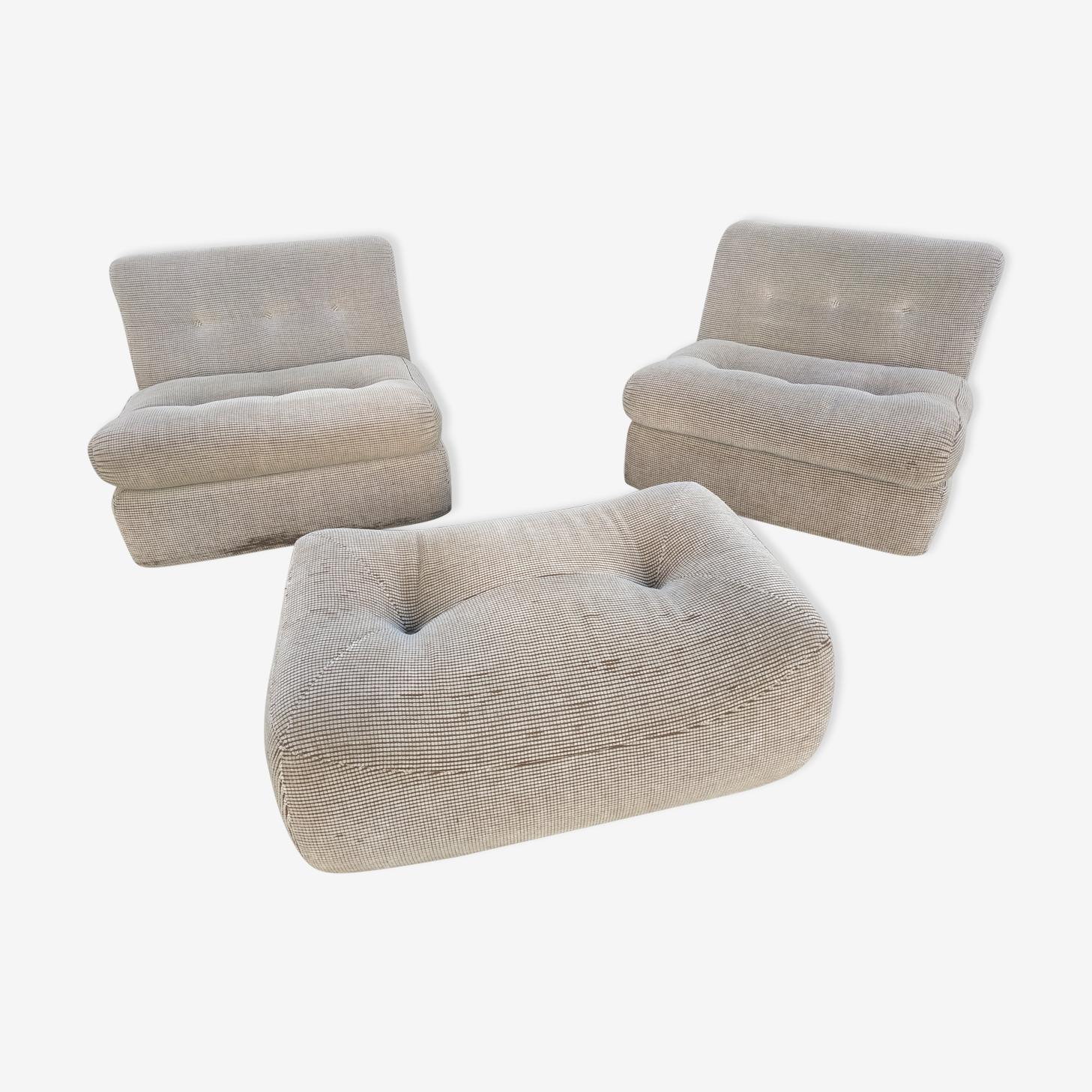 "Set fauteuils et ottoman Design B&B Mario Bellini ""Amanta"" 1970's"