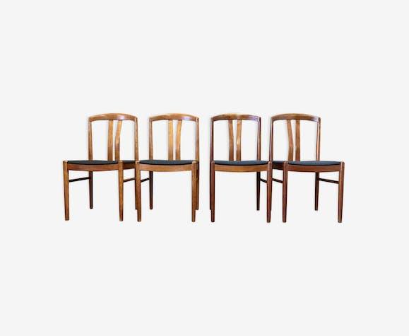 Ensemble de 4 chaises scandinaves teck estampille Johansson Sweden 1950