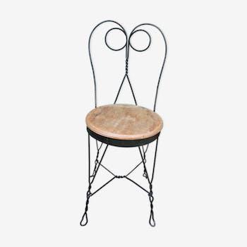 Lot de 2 chaises de jardin 1900 en fer forgé