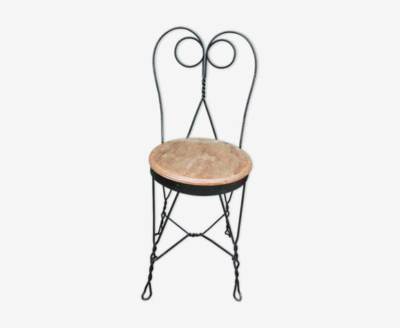 Lot de 2 chaises de jardin 1900 en fer forgé - fer - noir - vintage ...
