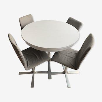 Table de séjour et ses 4 chaises des année 70