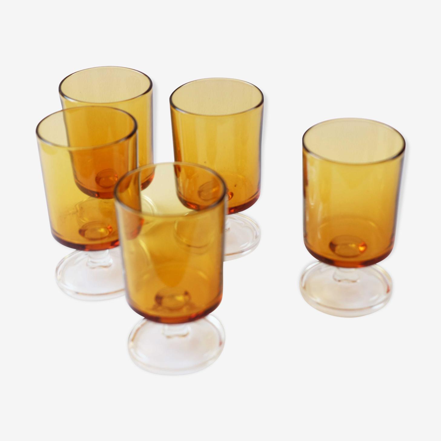 Lot de 5 verres à vin Luminarc années 70 ambre