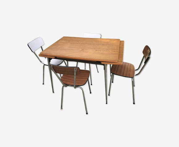 Table et 4 chaises formica pieds compas