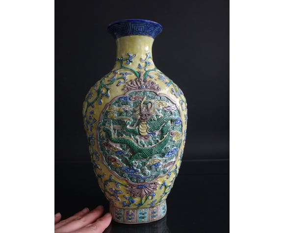 Ancien vase chinois dragon 31cm chinese marque Porcelaine Chine XIX