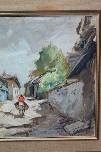 Peinture à l'huile suédoise par Knut Norman, années 1960