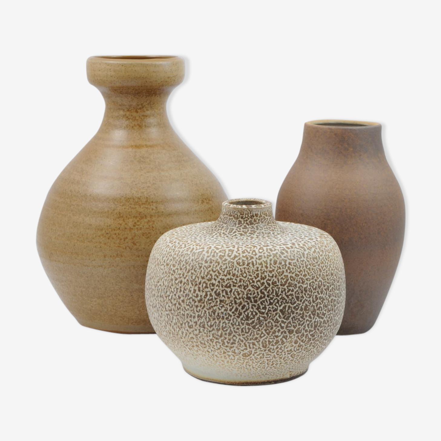 Vases en céramique émaillés brun du milieu du siècle d'Allemagne, lot de 3