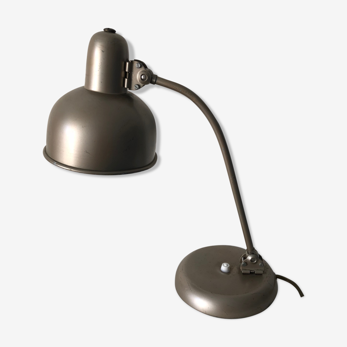 Lampe De Bureau Atelier Grege 40cm Vintage 1950 Metal Beige