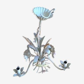 Lustre à décor floral en métal laqué