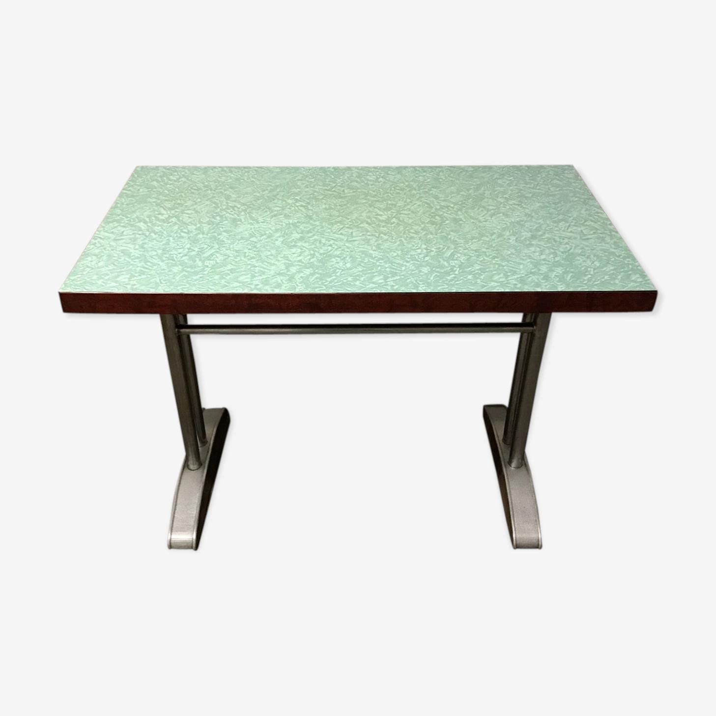 Table en formica vert piétement métal et zinc,  années 50