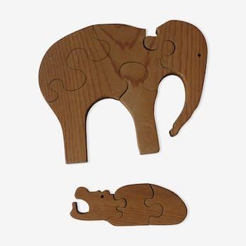 2 puzzles en bois