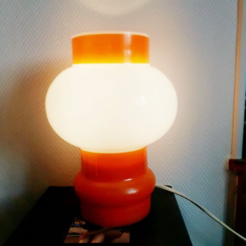 Two-coloured opaline mushroom lamp 70s