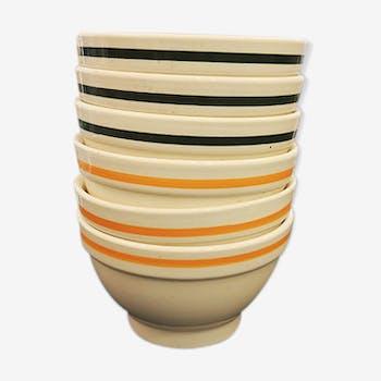 Set de 6 grand bols à céréale en céramique vintage